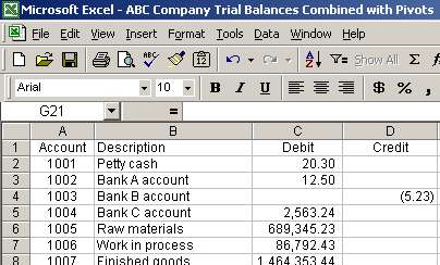 Excel pivot table to compare trial balances function and example ...
