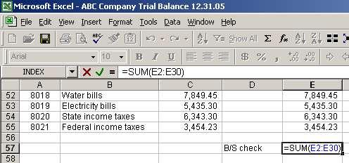 standard balance sheet format excel